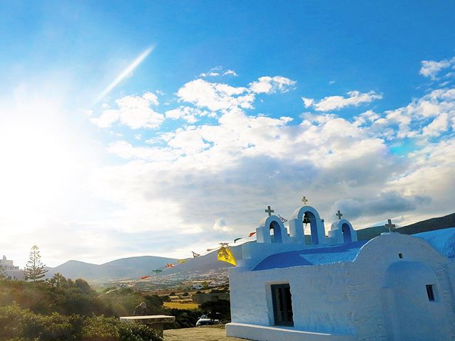 The isolated Agios Georgios Church built on rocks by the sea. A beautiful place to meditate and relax in Paros.