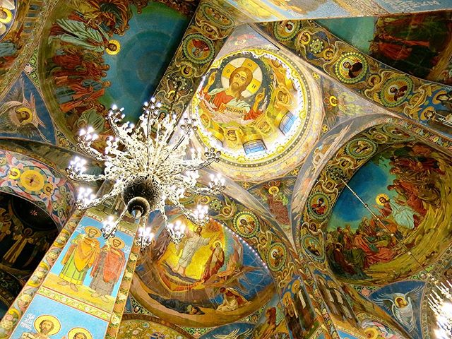 Colorful interior of the Church of the Savior on the Spilled Blood in Saint-Petersburg. . The church is built on the spot where Tsar Alexander II was assassinated in 1861 by an anarchist.
