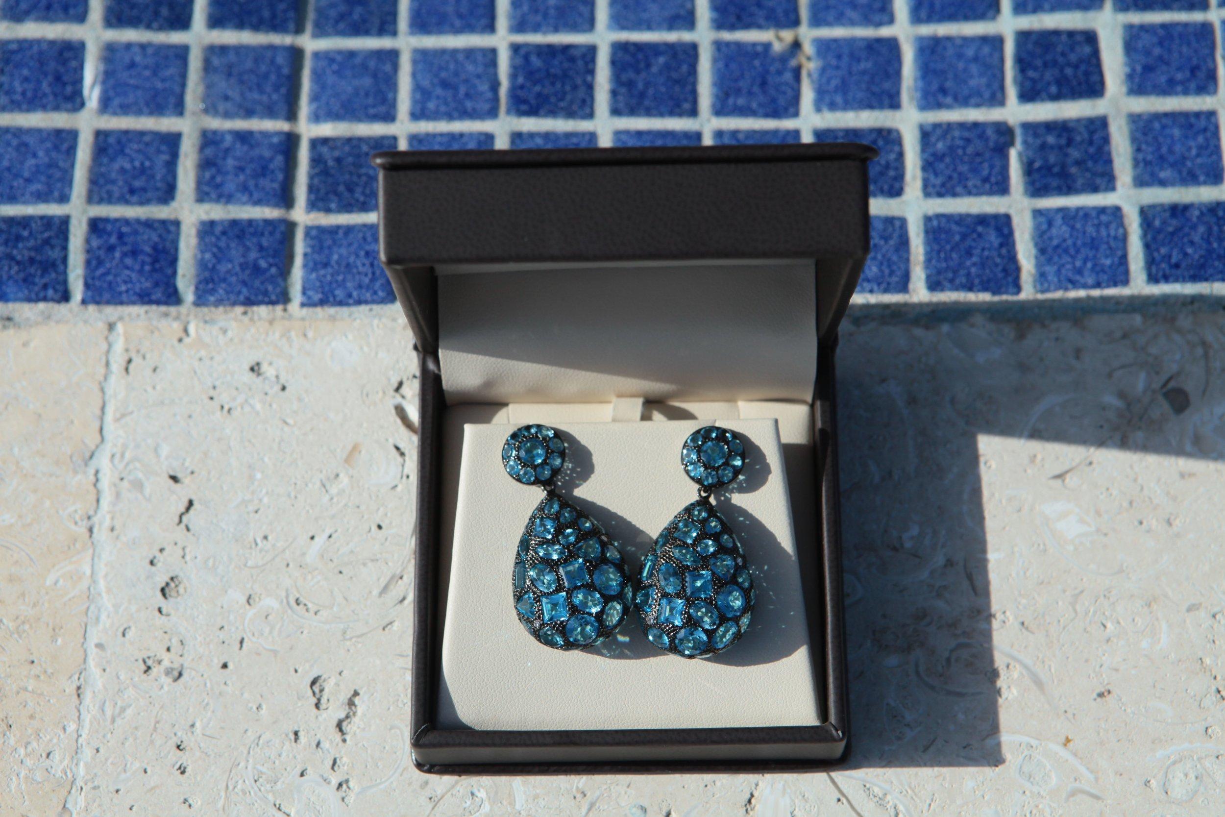 Blue Topaz + Diamond Mosaic Earrings