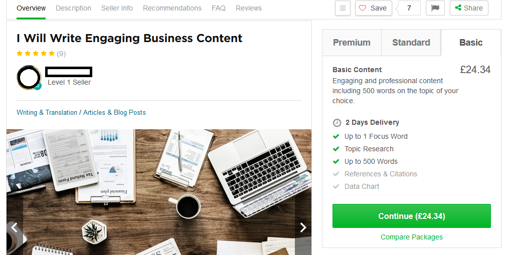 Posting a job on Fiverr example