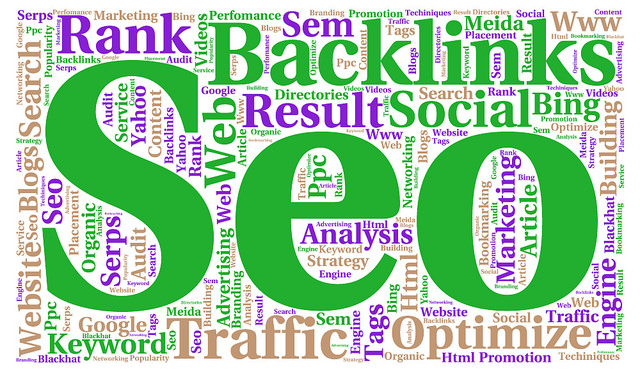 Wordart for SEO writing such as backlinks