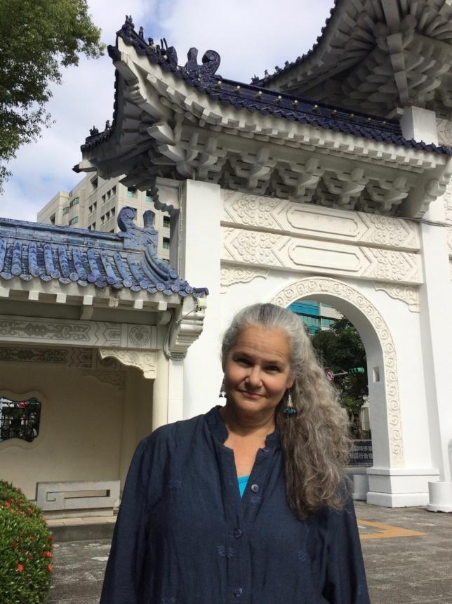 Sarah at Chiang Kai-Shek Memorial Hall in Taipei, Taiwan