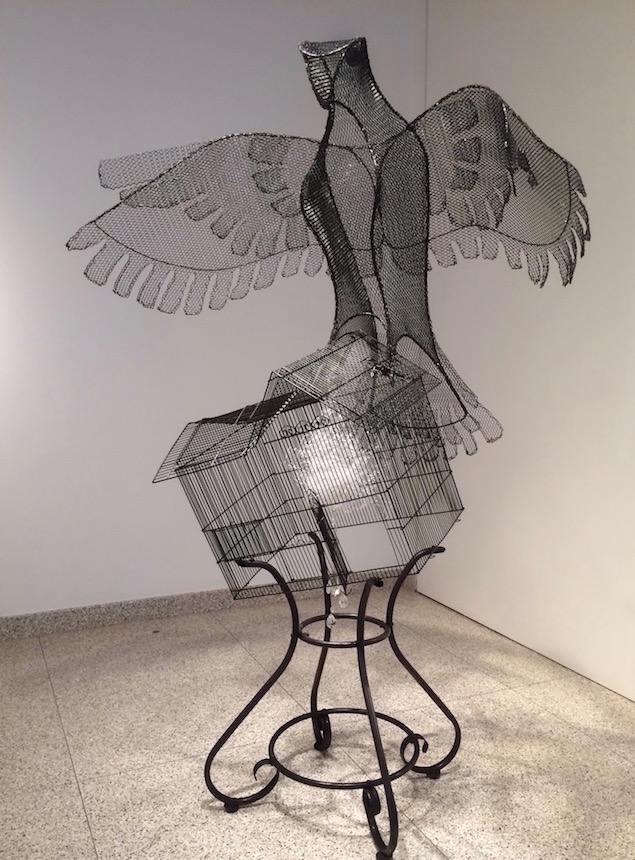 Deep Song , steel, wire mesh, found objects, enamel, 2018
