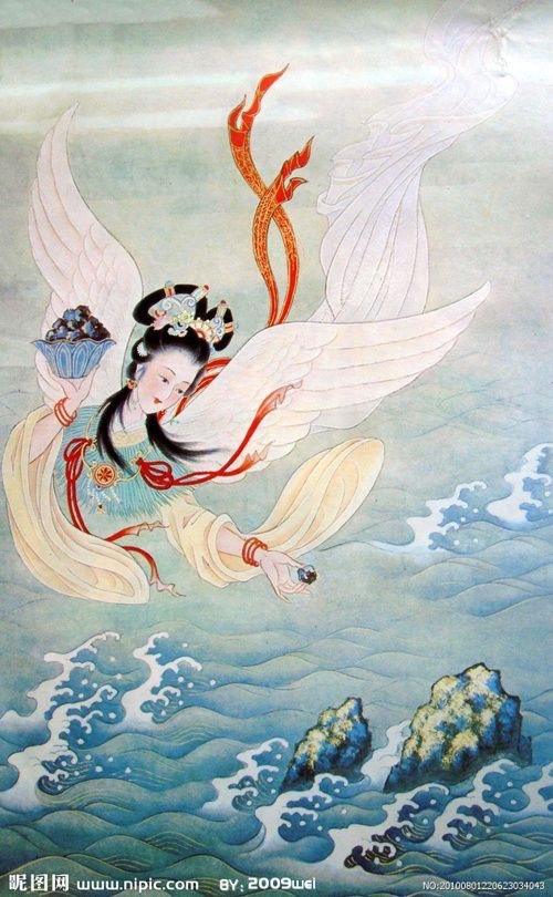 The Jingwei Bird of Chinese myth, who was once a girl who drowned in the sea; she was turned into a bird that forever drops a stone or twig to try to fill up the sea—an image of persistence