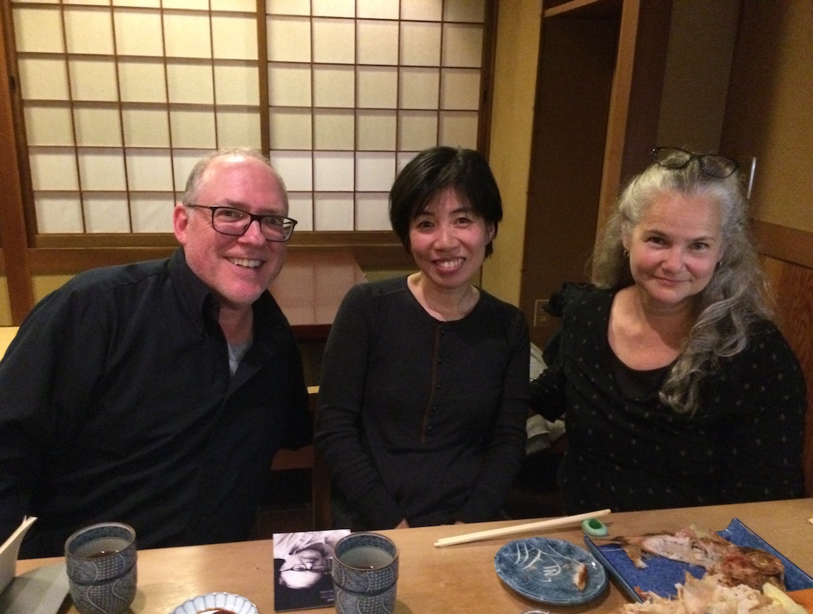 My husband, Jonathan Blunk, and I had a wonderful time visiting with artist-teacher Keiko Ikoma, here at her friend's restaurant in Kyoto
