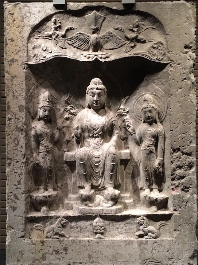Buddha Triad in a Niche, Baoqingsi Temple, 7th-9th c., National Tokyo Museum
