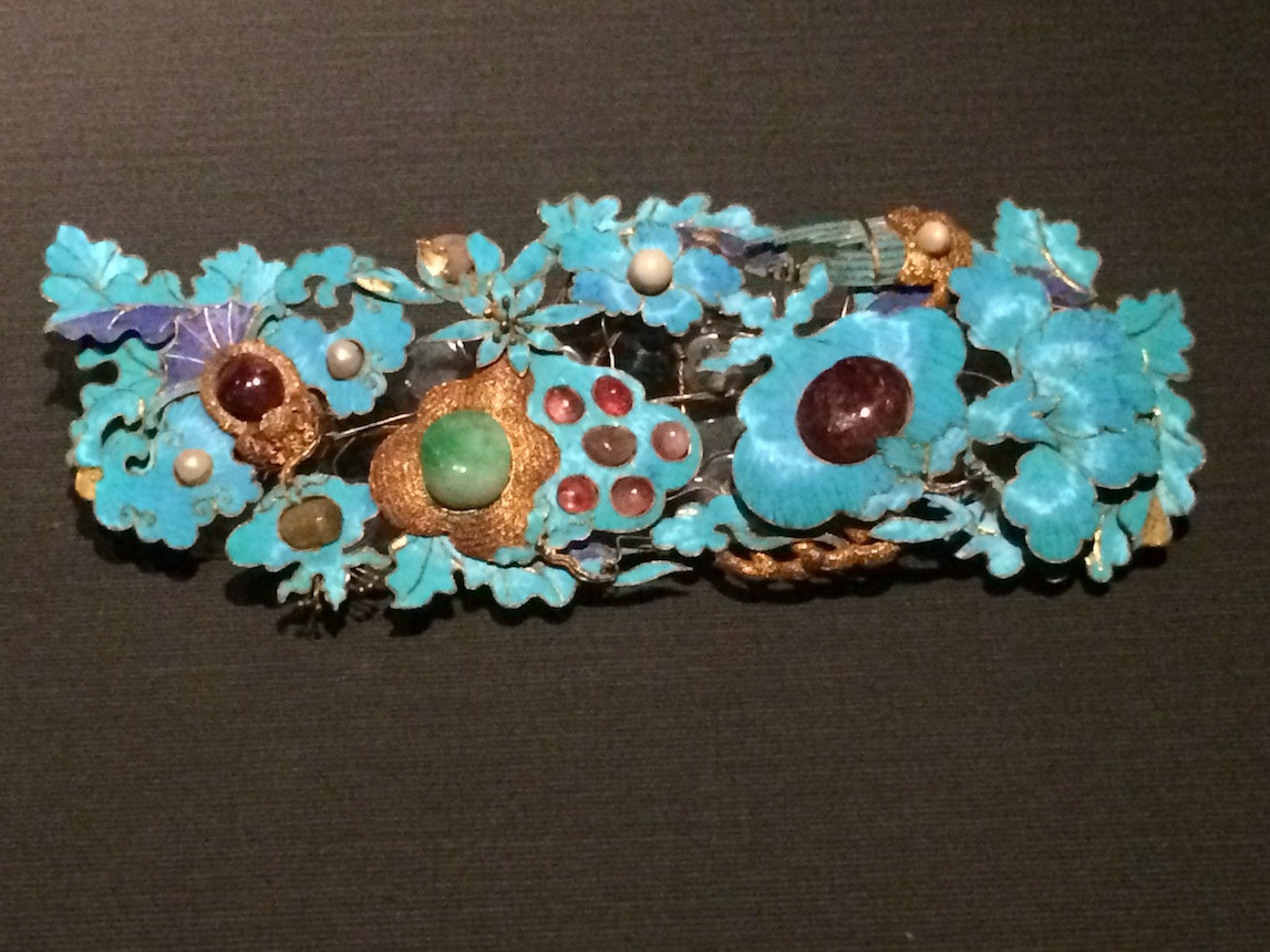 Turquoise Kingfisher feathers used in Imperial Chinese jewelry, National Palace Museum