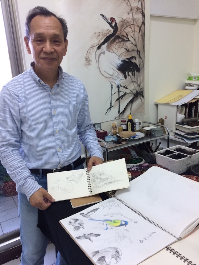 Teacher Chiang's nature sketches fill his many notebooks