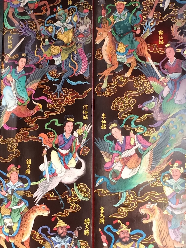 "Tainan temple doors with gods and Immortals, translated by Google as ""Ancient Fairies"""