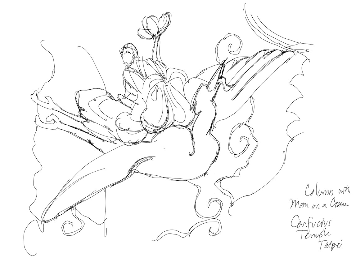 iPad sketch of Immortal on a crane holding a lotus, from dragon column at Confucius Temple, Taipei