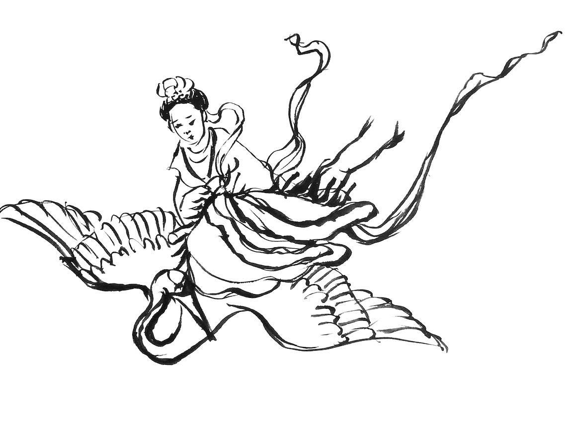 Ink on rice paper sketch of woman riding a crane