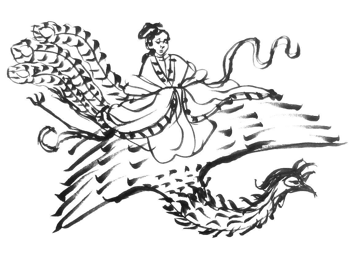 Ink on rice paper sketch of celestial woman on a phoenix