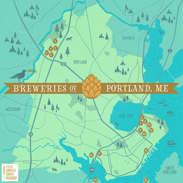 A tiny Portland, Maine Brewery Map for your Monday. 🍻🌞 1.@gearybrewing  2.@allagashbrewing  3.@batterysteelebrewing  4.@foundationbrew  5.@definitivebrewing  6.@goodfirebrewing  7.@lonepinebrewing  8.@fermentory  9.@risingtidebeer  10.@austinstreetbrewery  11.@oxbowbrewingcompany  12.@shipyardbrewing  13.@liquid_riot  14.@foreriverbrewing  15.@foulmouthedbeer  16.@bissellbrothers  17.@bunkerbrewing . . . Feel free to repost with credits please.  Did I miss one? Let me know and I'll tag it! ❤️ . . . #mainebeer #breweries #mainebreweries #portlandbreweries #portlandmaine #portland #maine #beermaine #illustratedmaps #freelanceillustrator #illustratorsoninstagram #graphicdesigner #graphicdesign #angelasmithwagner #maineart #pivot207 #mainebeermap #portlandbrewerymap #portlandbeermap #mainebrewerymap