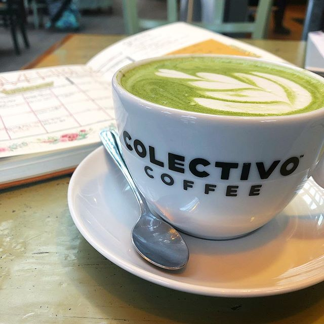 Sipping on matcha and planning out my study strategy for the rest of the semester @colectivocoffee 🍵 • The darkest of coffee has had its hold on me lately (like 4 cups a day 😬) and I can feel that it makes me a little anxious. I love it too much to give it up forever so every month or so I switch it out for some type of green tea and come back to it when I'm ready. • Listening to your body is a message of self-respect and can happen in lots of different ways, so tune in!
