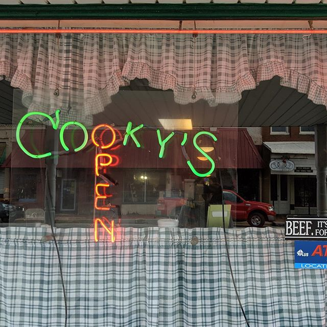 Pie pilgrimage. There are a few points where every #transamericatrail riders must stop, and Cooky's Cafe in Golden City is one. They are the only place to buy food for forty miles, and that food is pie. I won't lie, we had three. . . . . . . . . . #travel #missouri #goldencity #cookys #cycletouring #bicycletouring #food #pie #cafe #transam #tat