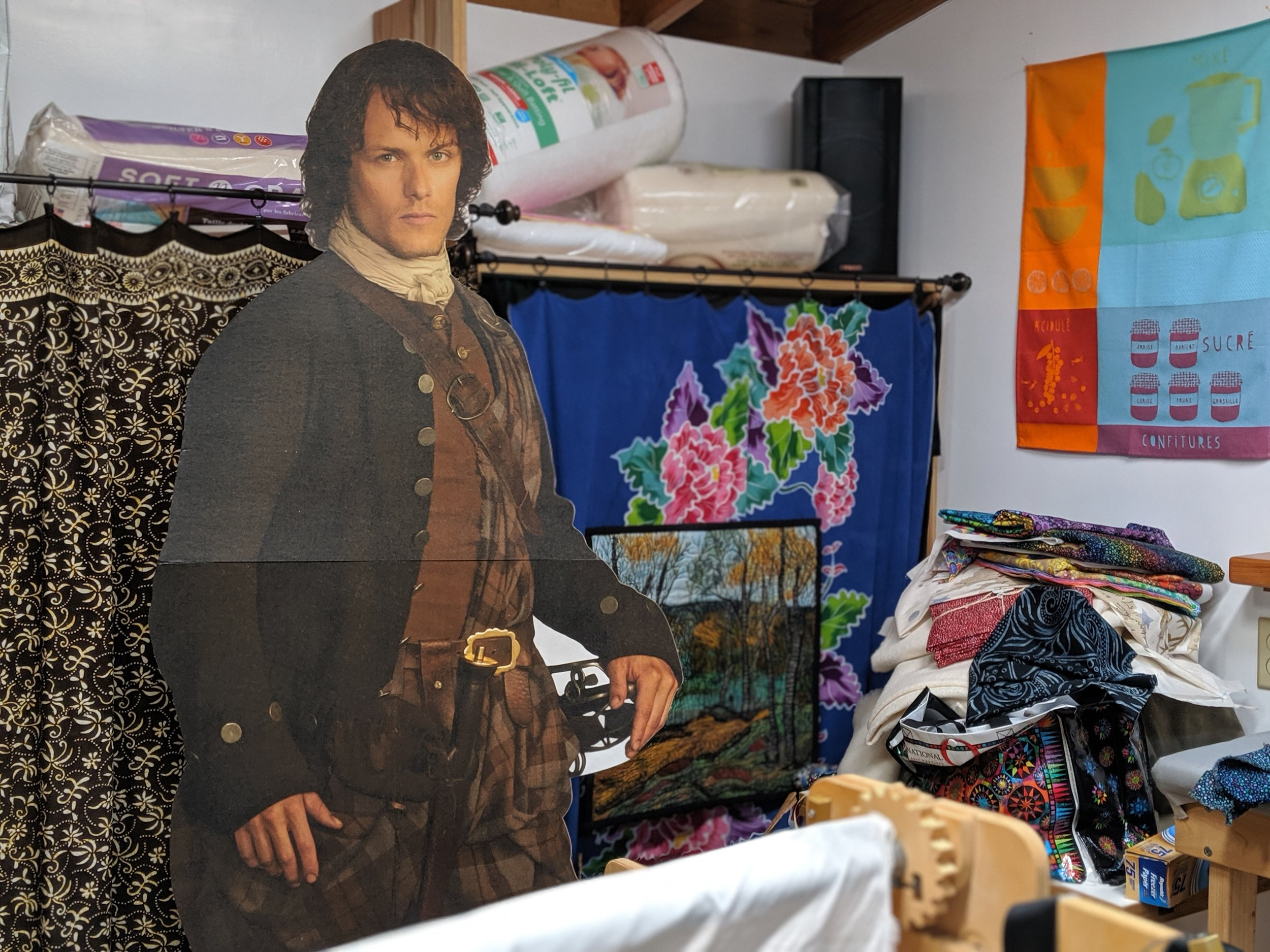 Outlander helping with the quilts