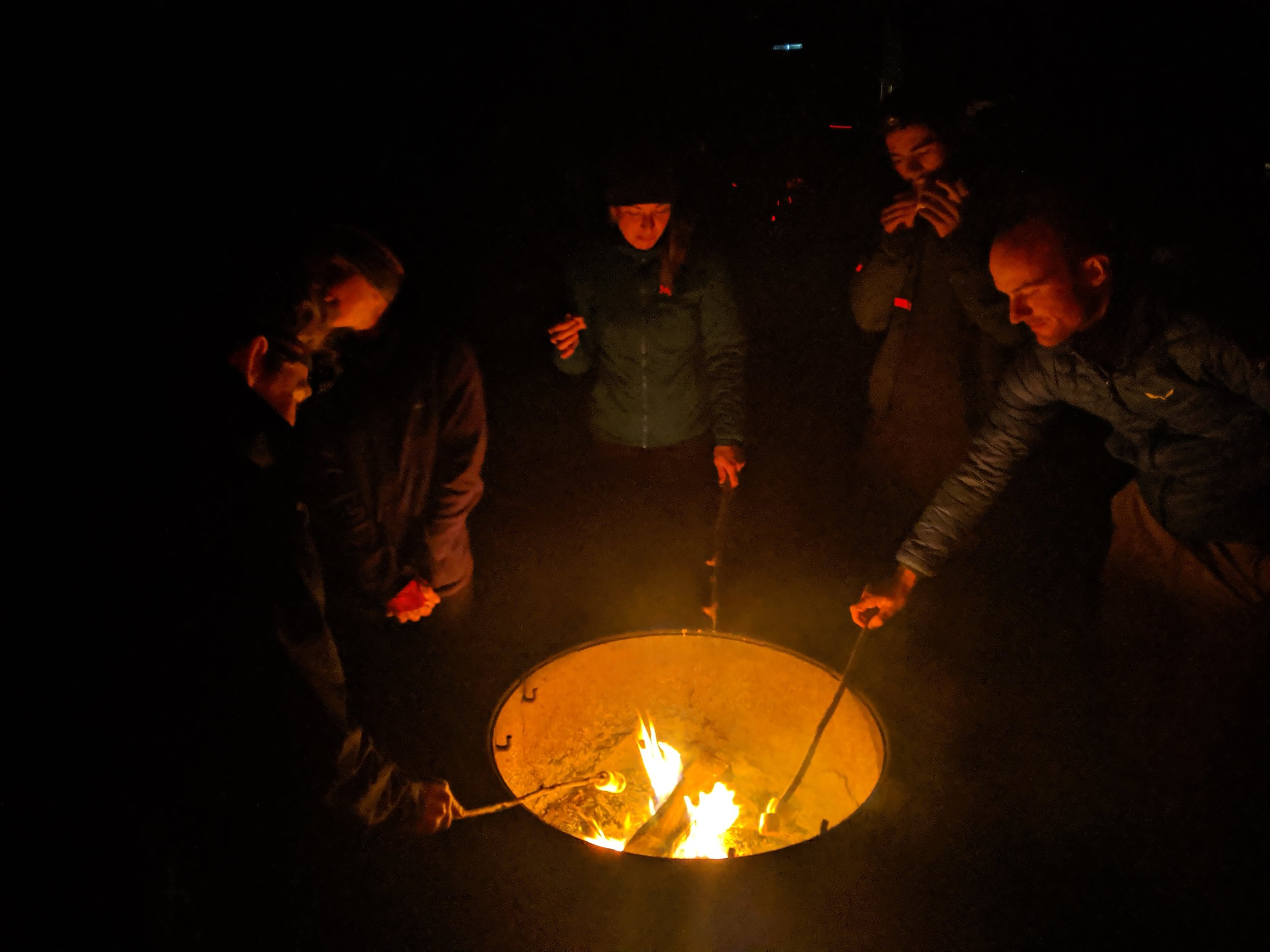 Bikers, forging s'mores