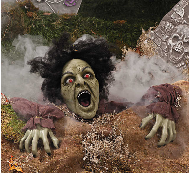 For just $23.98 - you can have yourself a dirt clawing, red eye'd, zombie fright woman haunting your front yard.