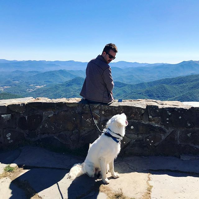 Hiking through WNC for Dad's Birthday. It was a gorgeous day and it seems our little man loves the outdoors! #hikingadventures