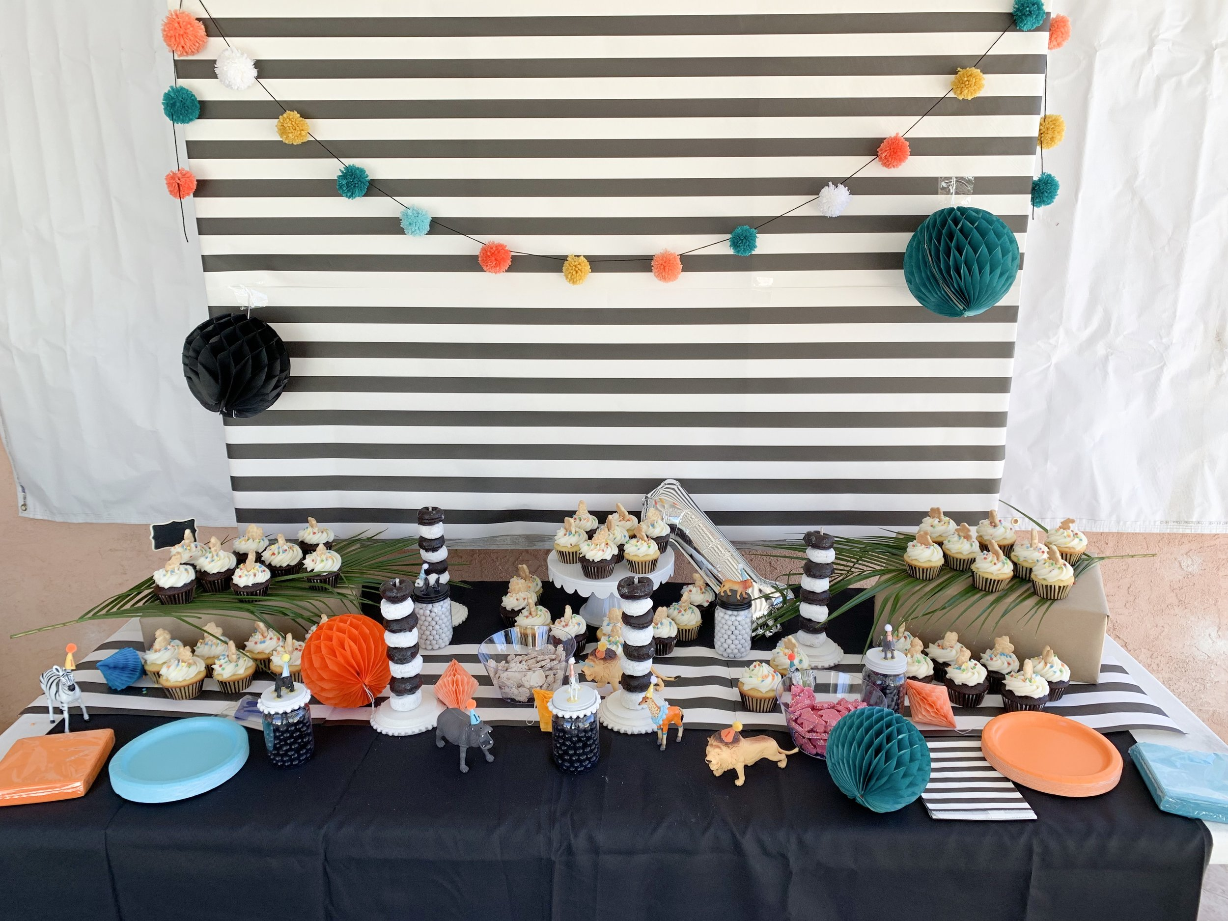 DIY party animal dessert table for a 1st birthday party