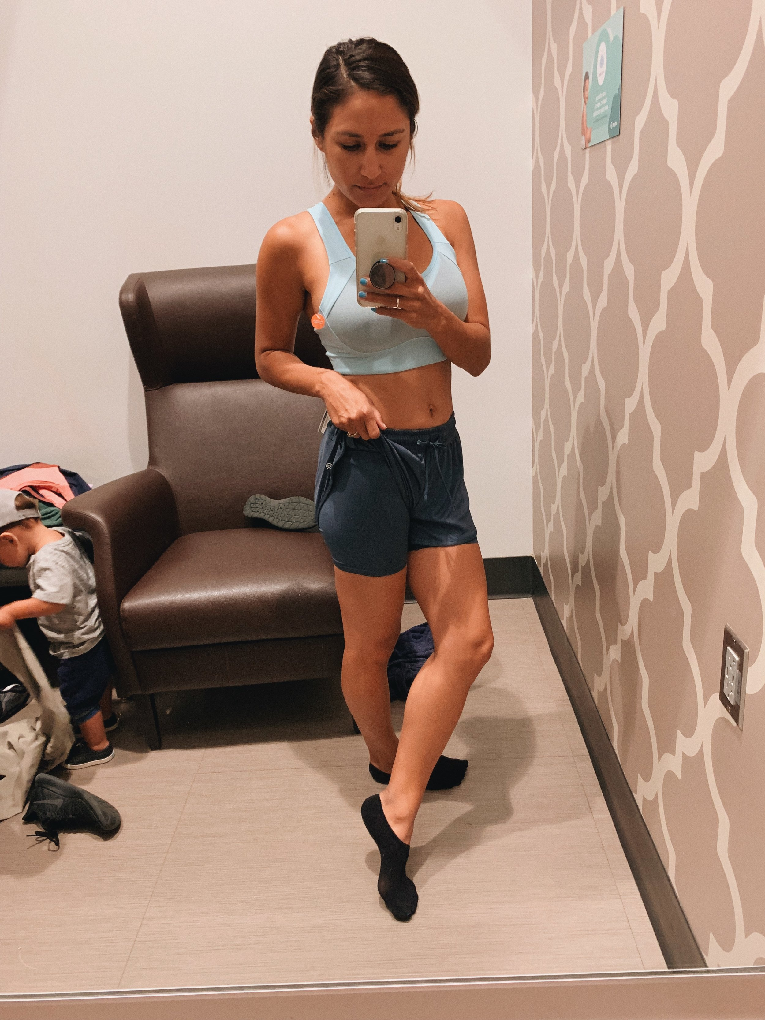 Target workout style, running shorts, running sports bra