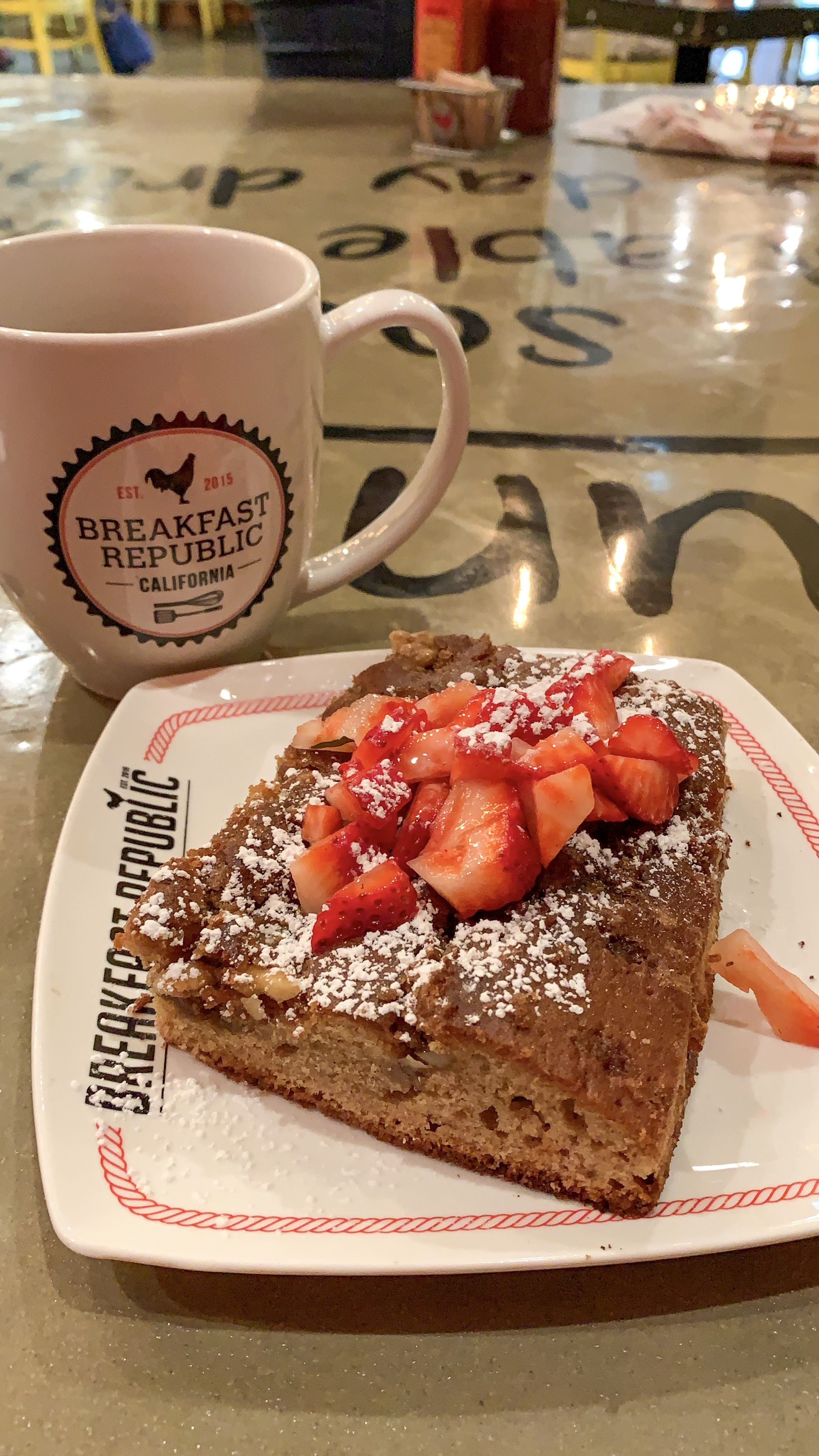 Breakfast republics signature coffee cake. Great way to start off brunch!