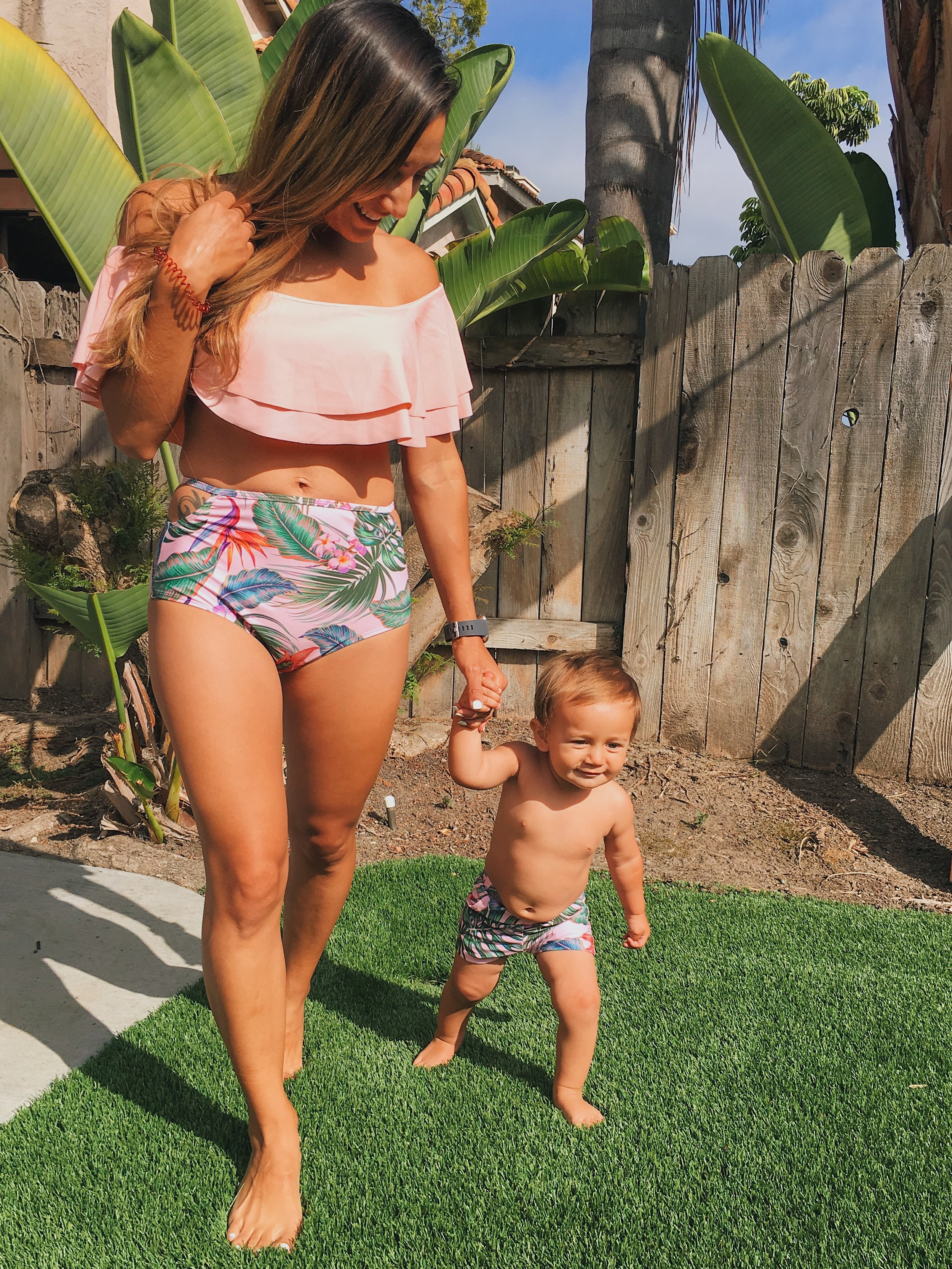 Mother & son matching tropical summer swim suits. Mommy & me bikini