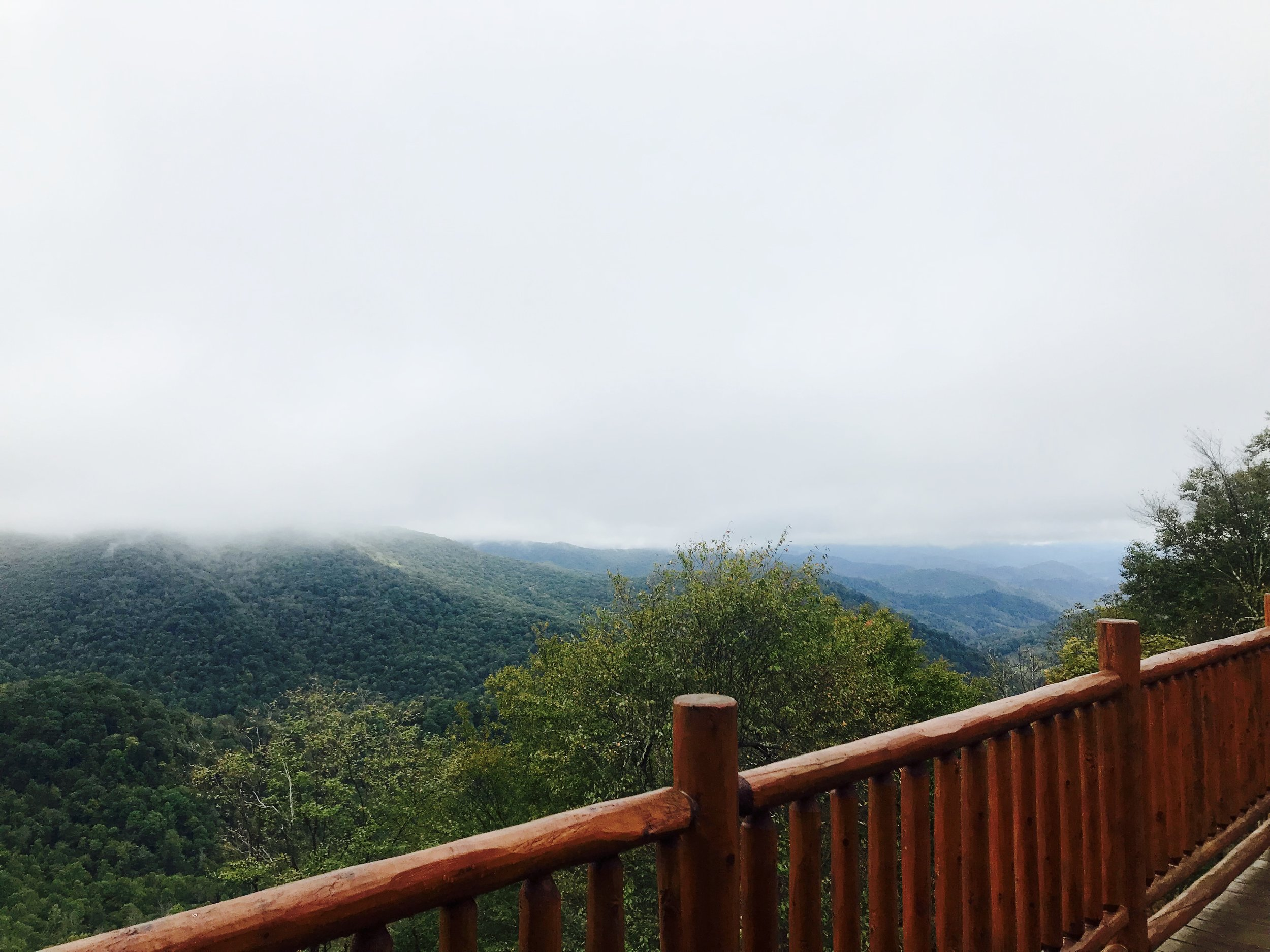Misty mountain morning views from the deck…