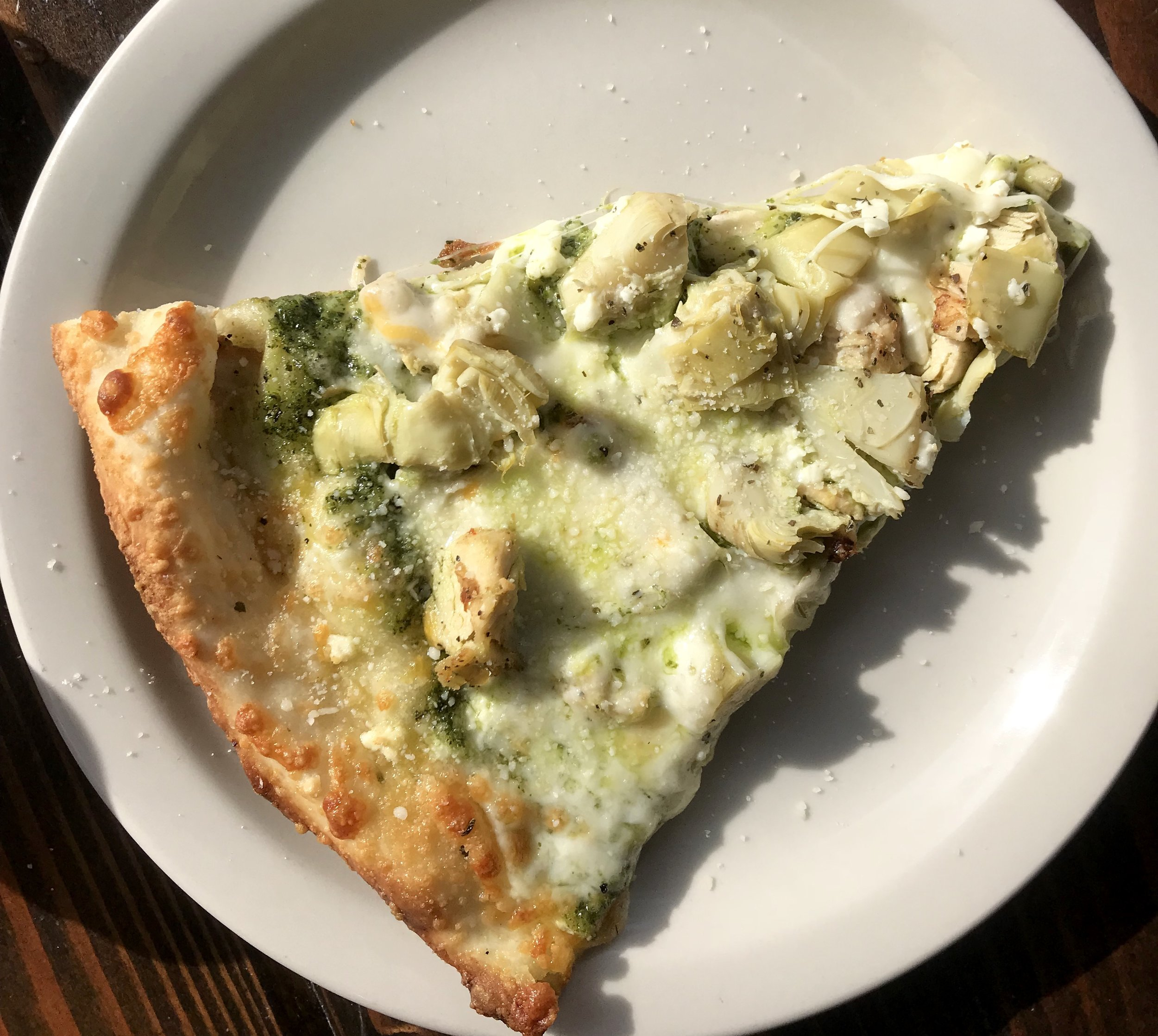 A picture of a lone slice bc I may or may not have already devoured the rest of the pizza before I remembered to take a picture…
