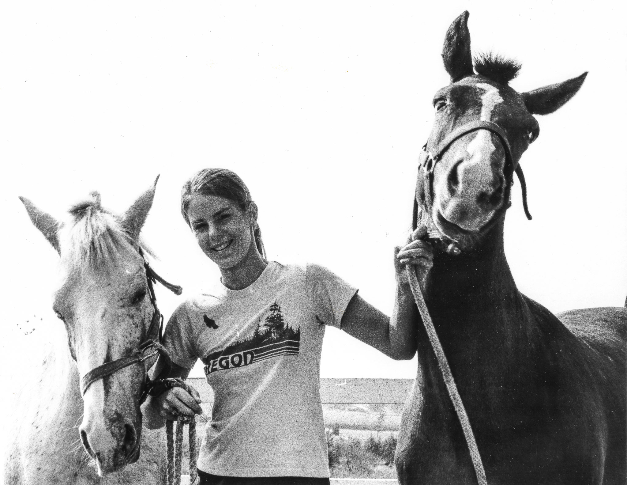 Young Melanie with two of her first horses.