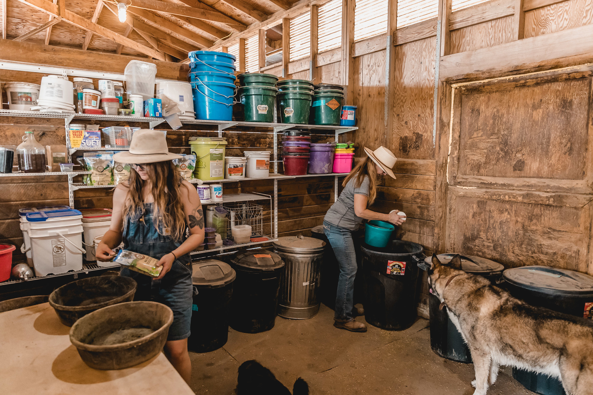 Melanie and Savannah in the feed room, ensuring each horse gets their proper nutrition and supplements.