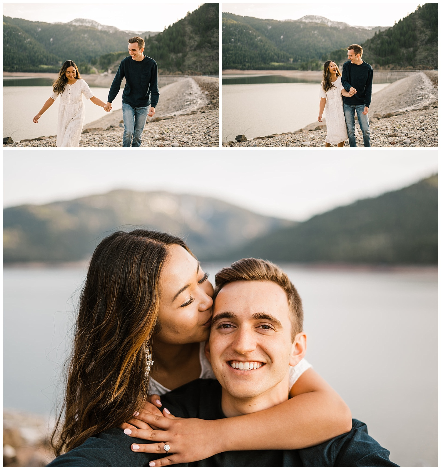 Ariel and Nick Palisades Reservoir Idaho Engagement Session