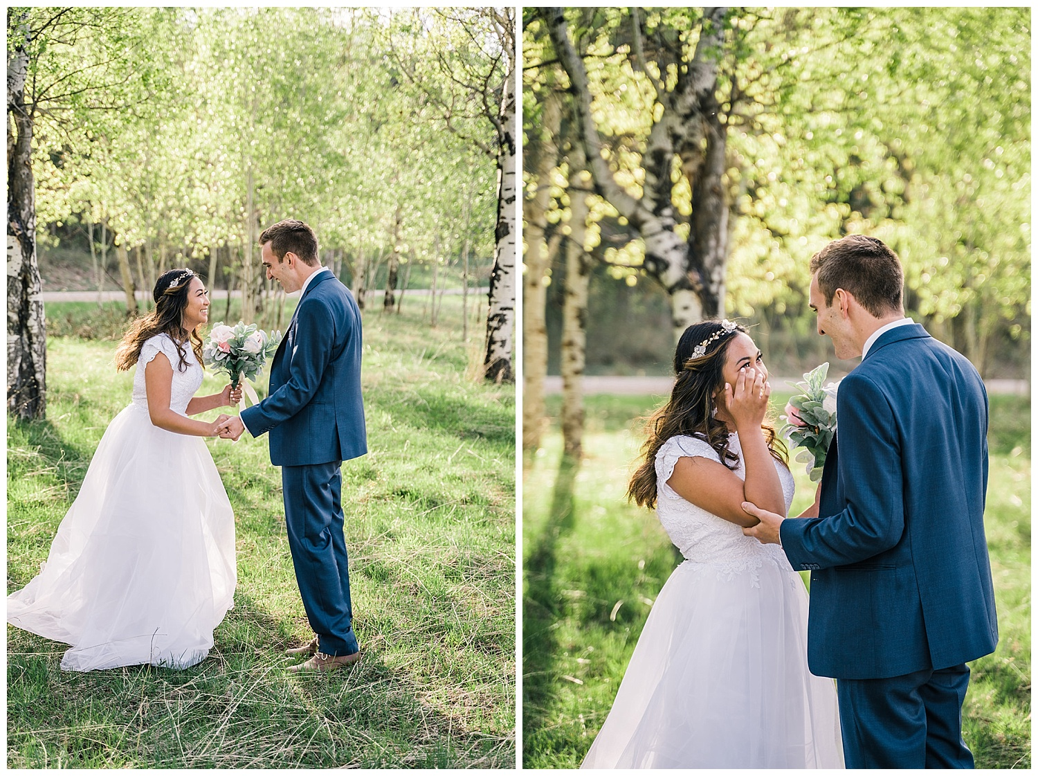 Ariel + Nick Idaho Forest First Look and Bridals
