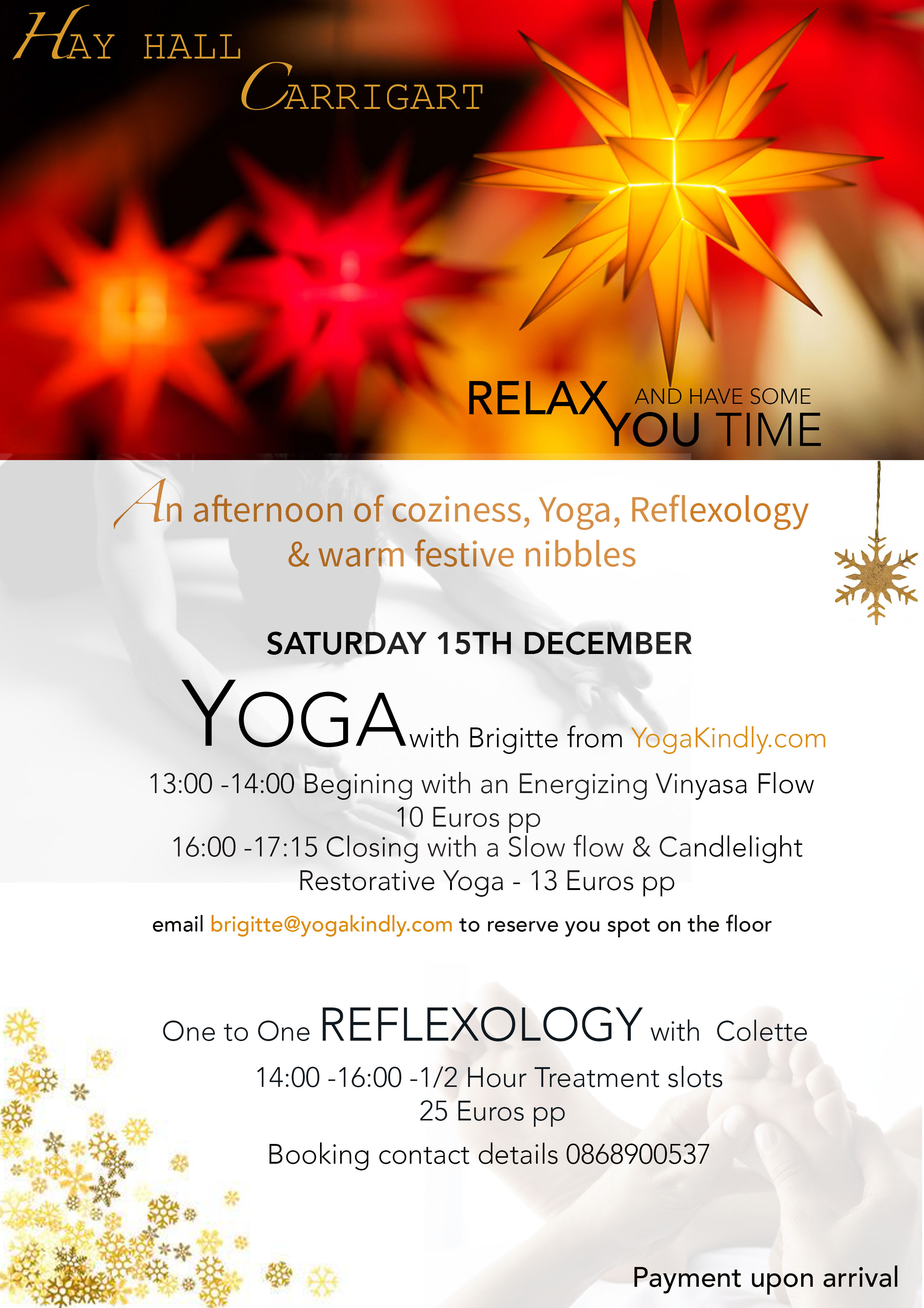 Ireland Mind and Body Pre Christmas Yoga and Reflexology…just come and relax with us… -