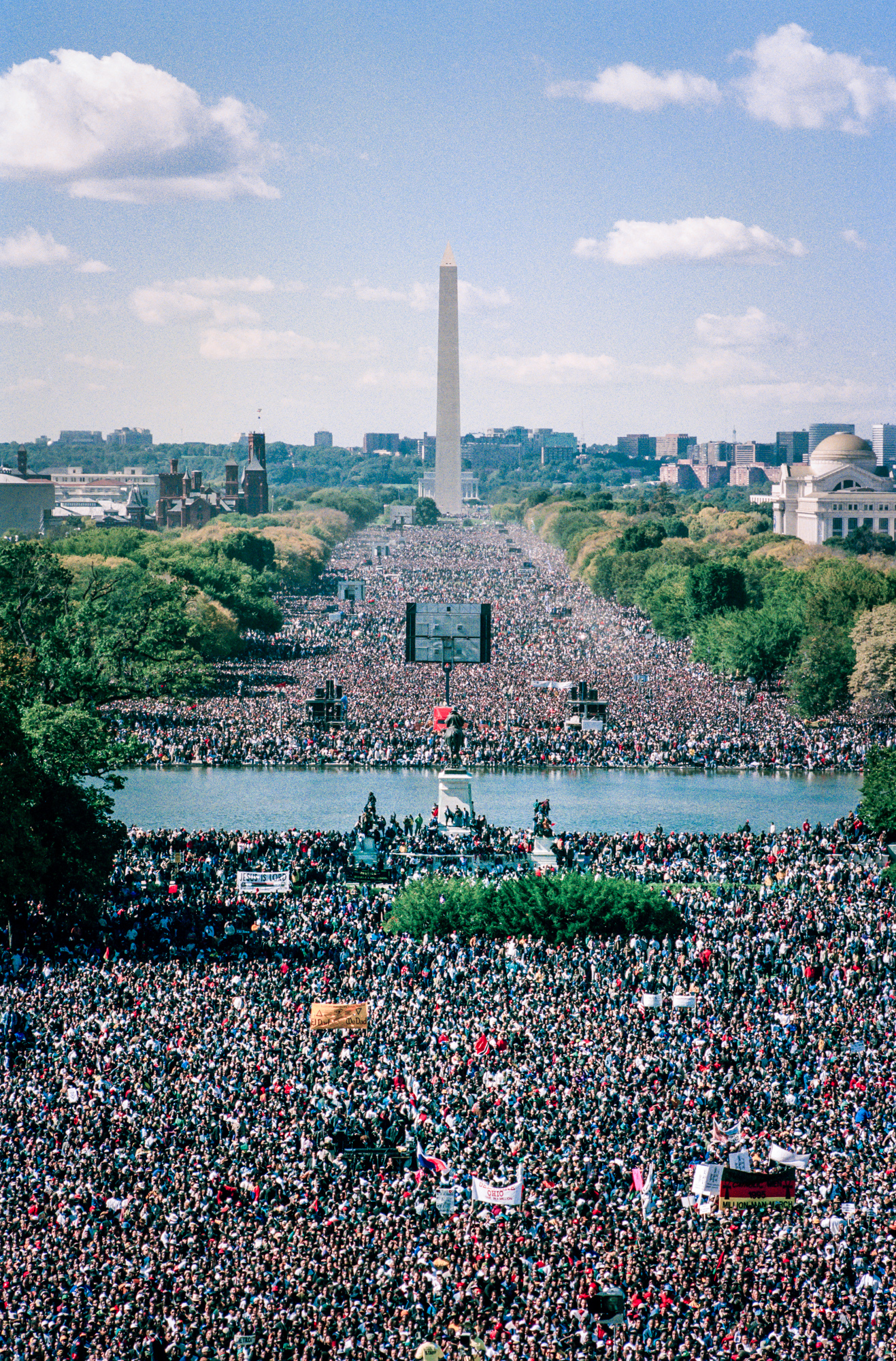 Black men fill the National Mall in Washington, DC during the Million Man March