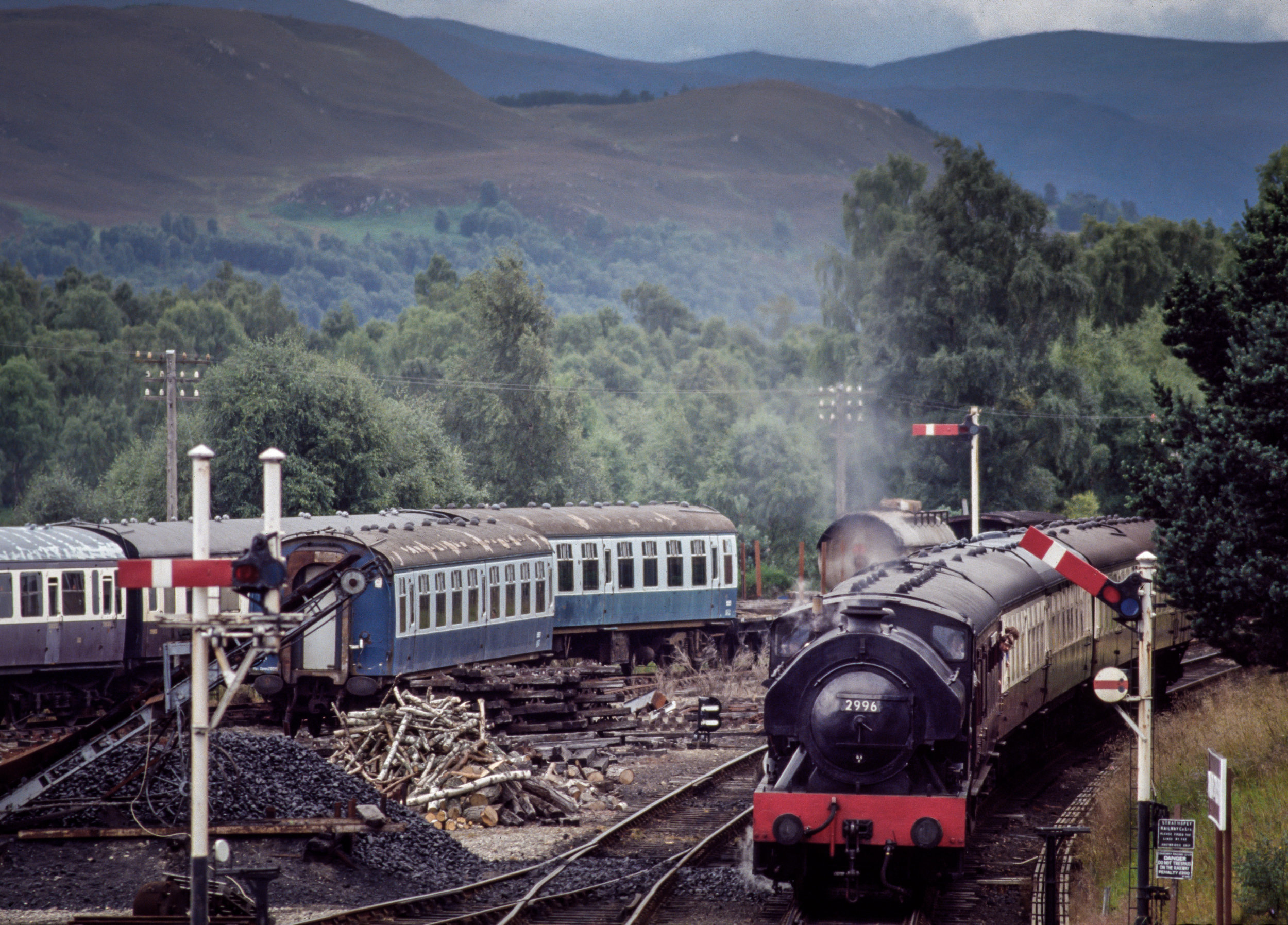 A Strathspey Railway train comes into the yard in Boat of Garten, Scotland