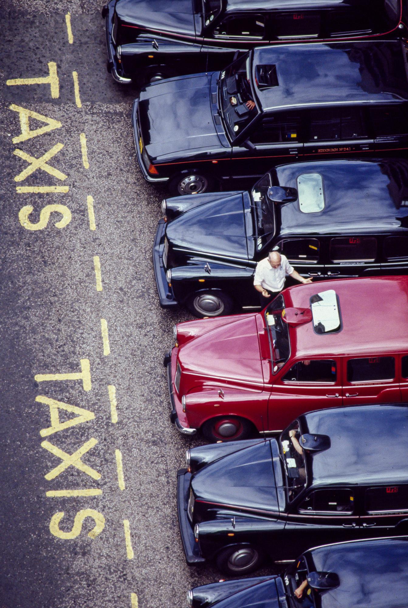 A taxi stand in Edinburgh, Scotland.