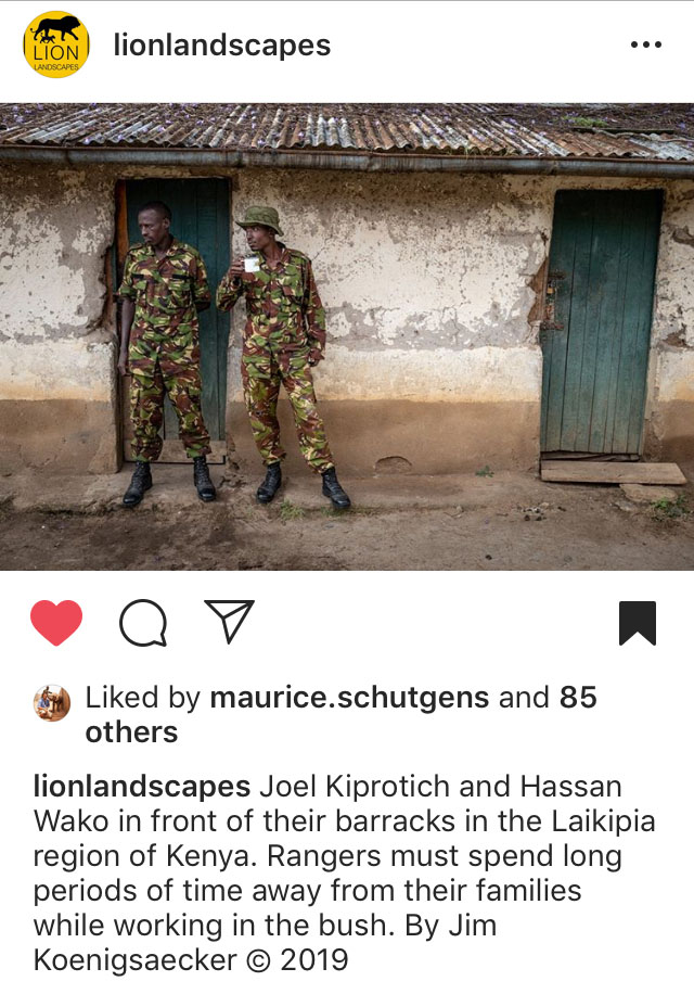 Wildlife rangers Joel Kiprotich and Hassan Wako in front of their barracks in the Laikipia region of Kenya.