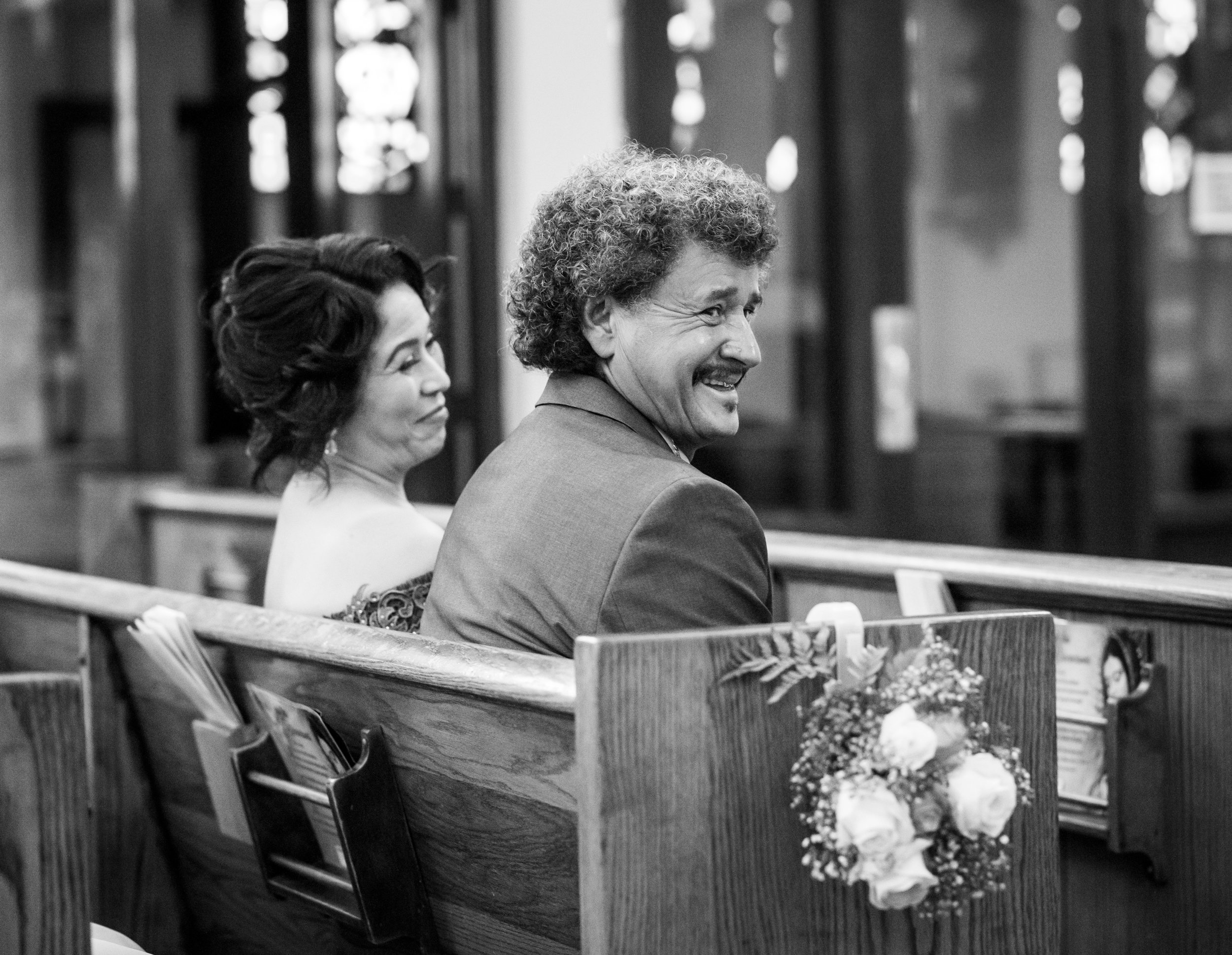 Adriana Gonzalez's parents Adolofo Gonzalez and Telma Hernandez during Adriana's quinceañera at Our Lady of Guadalupe Church in Sacramento, California