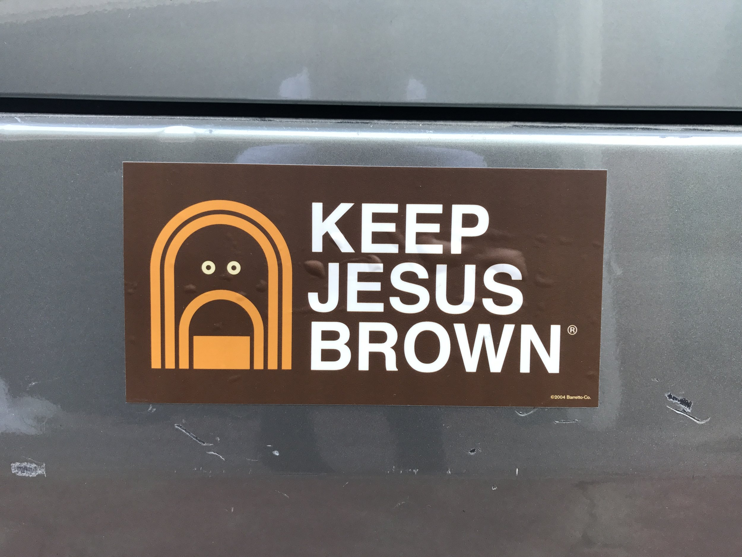 """Keep Jesus Brown"" 7 1/2"" x 3 3/4"" Bumper Stickers"