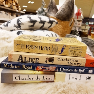 Robin Hobb - Dragon Keeper    Christina Henry - Alice  (continuing my Alice obsession)   Charles de Lint - Medicine Road    Charles de Lint - Forests of the Heart
