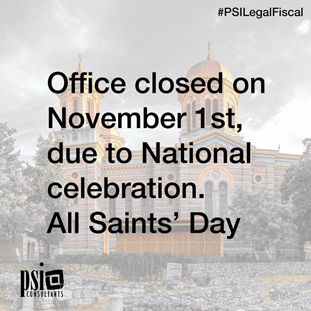 This is a reminder to say that on Friday 1st November, the PSI Consultants (La Zenia Office) will be closed due to the National celebration, All Saints' Day.  Should you require any assistance on this day off with any of our services, we will be more than happy to see you before the office closure or once the office reopens from Monday 4th November in our normal hours (09:00 to 14:30). If you require any assistance prior to our office closure, we recommend that you visit us by Thursday 31st October. Please feel free to email us via info@psiconsultants.es or call us on +34 966 730 104. #PSILegalFiscal  #Investment #Mortgages #LegalRepresentation #Accounting #RentalTax #ResidentApplication #Litigation #CompanyFormations #Insurance #HealthInsurance #HomeInsurance #Conveyancing #GoldenVisa #Wills #NonResidentTax #Inheritance #Finance #PropertyTax #Blog #News #Spain #Alicante #CostaBlanca #OrihuelaCosta #InspireDaily #MondayBlues #MondayMotivation