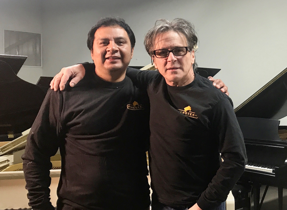 Master Craftsman Luis Rojas formally of Steinway and Sons and technician Dennis Pereca