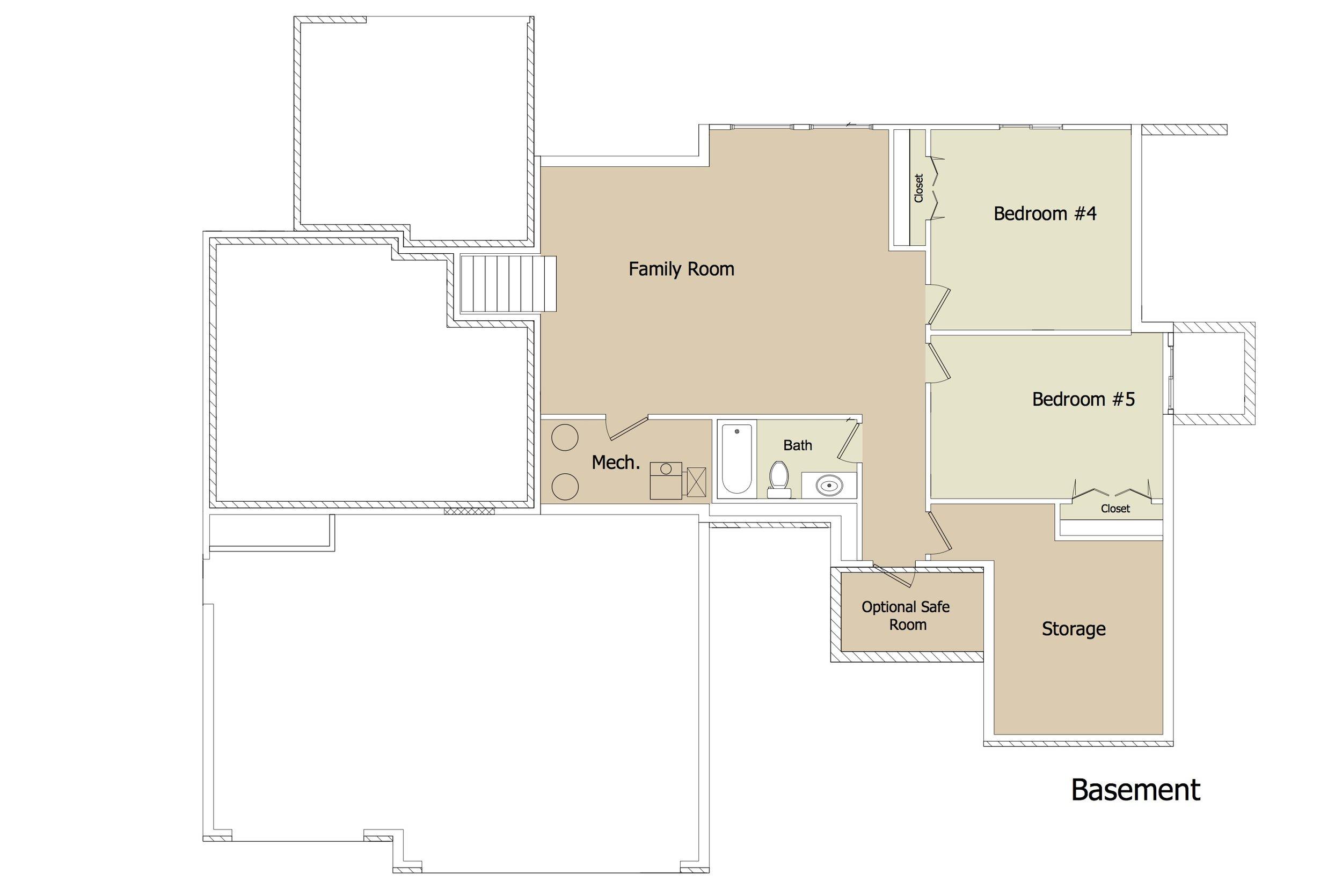 """Kensington """"Blue Garage Doors"""" FLEX Plan BSMT by JL Russell Construction"""