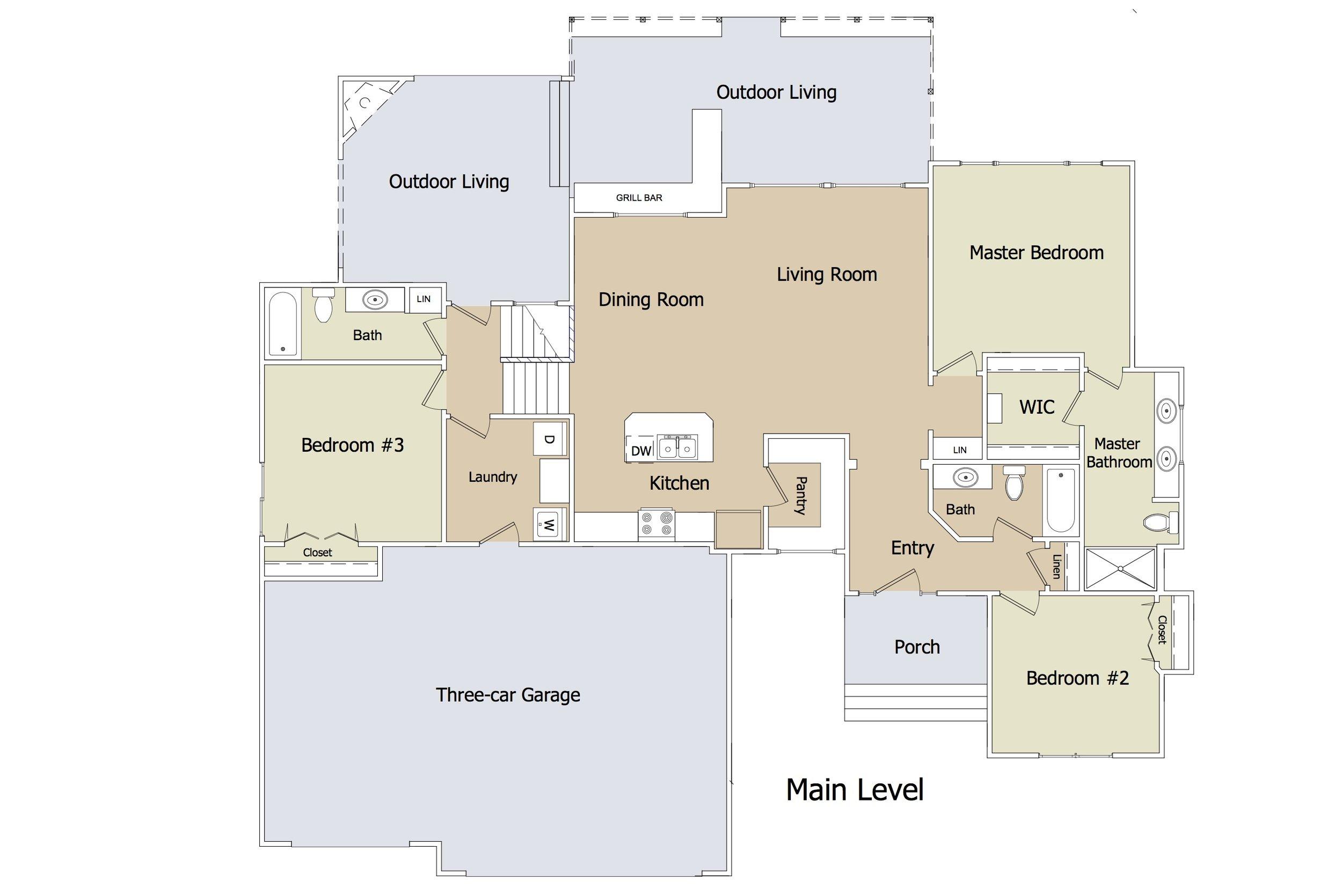 """Kensington """"Blue Garage Doors"""" FLEX Plan ML by JL Russell Construction"""