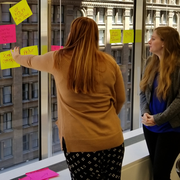 Students in the 2018 boot camp map a process flow for corporate contracts.