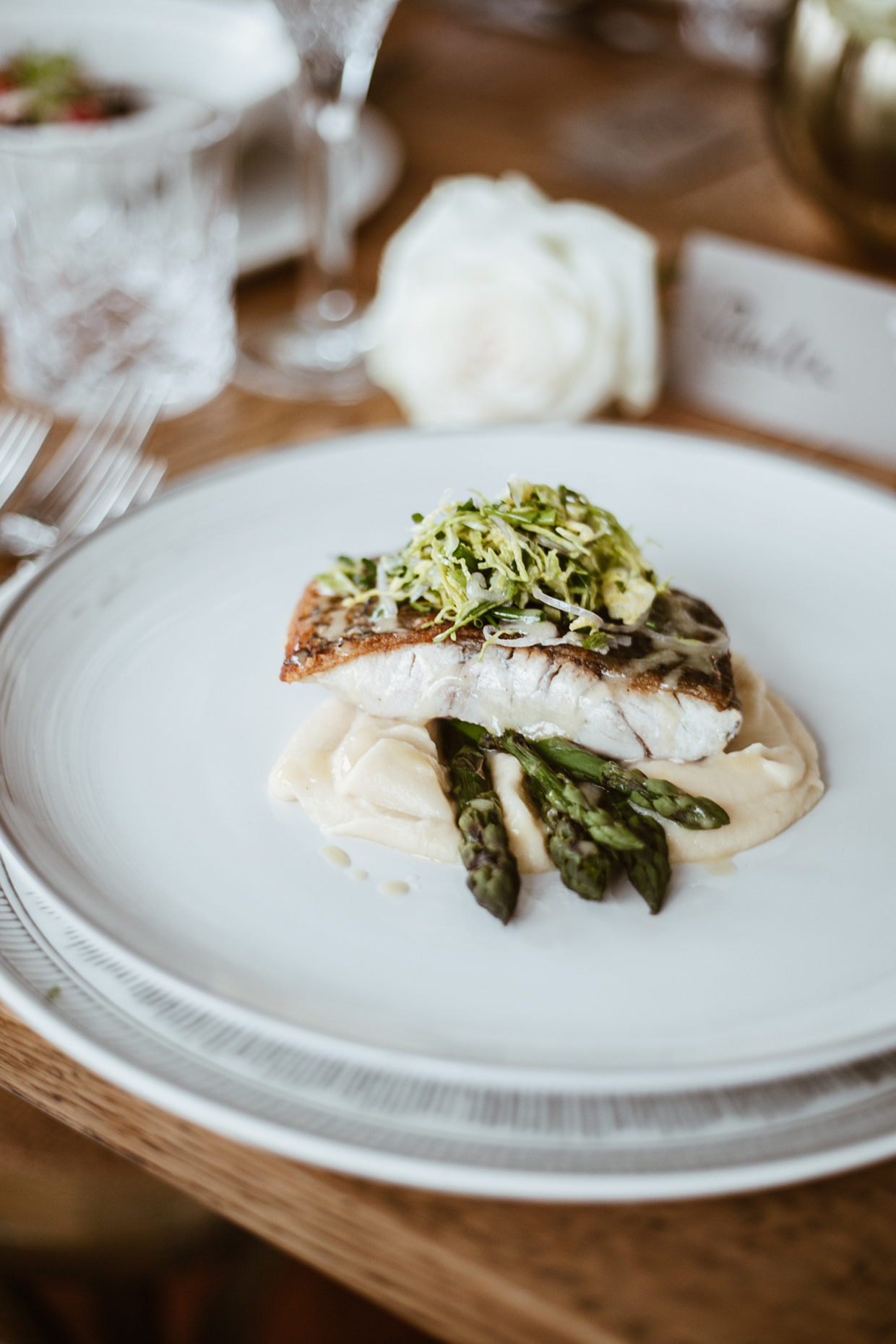 Pan Fried Barramundi with Cauliflower Puree, Grilled Asparagus, Sprout Salad & Verjuice Dressing served on    ED Ellen DeGeneres Crafted by Royal Doulton Plate Soft Brushed Glaze