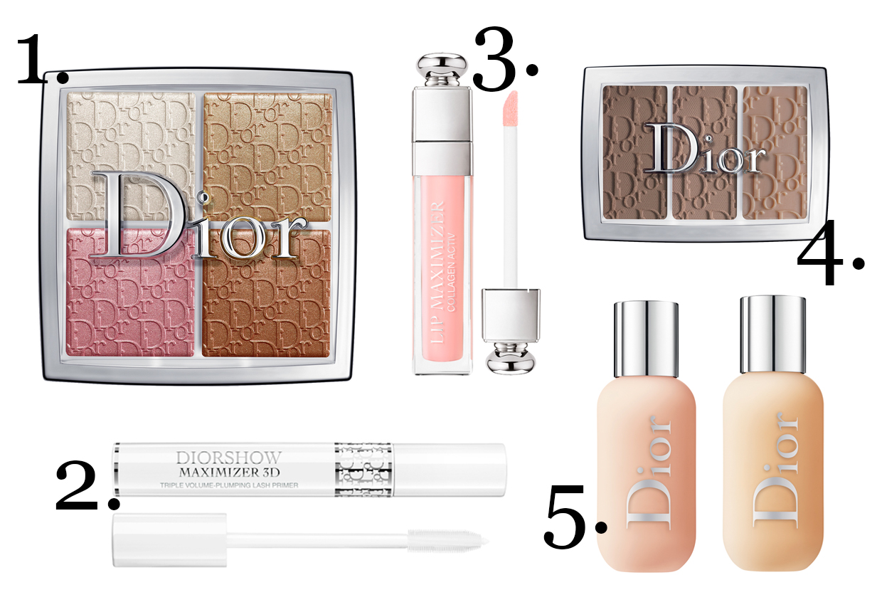 CLICK TO BUY : 1. Dior Backstage Glow Face Palette, $76 ;2.  Dior Backstage Diorshow Maximiser 3D, $56;  3. Dior Addict Dior Backstage Lip Maximiser, $49;  4. Dior Backstage EyeBrow Palette, $69 ;  5. Dior Backstage Face & Body Foundation, $70