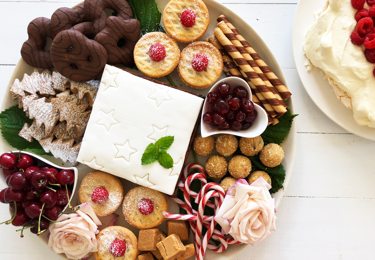 CLICK TO BUY:  Woolworths Fruit Mince Pies, $3.50;   Woolworths English Toffee Flavoured Fudge, $3.00; ; Woolworths Iced Fruit Cake;  Wins Glace Cherries, $4.00;    Woolworths Rum Balls, $4.00 ; Corinnthian Chocolate Wafer Biscuits; Christmas Candy Canes, $1 (for 10)