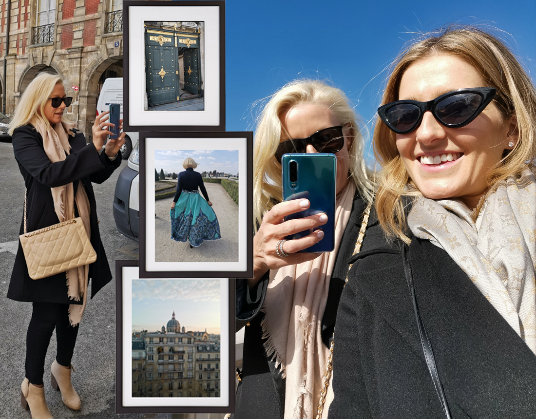Wandering the streets of Paris with my partner in snapping, Kate Waterhouse. The  Huawei P30 Pro  comes in two beautiful colours Breathing Crystal and Aurora which is the colour we're using (above).